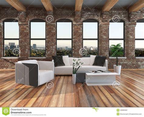 loft style living room modern loft style living room interior stock illustration