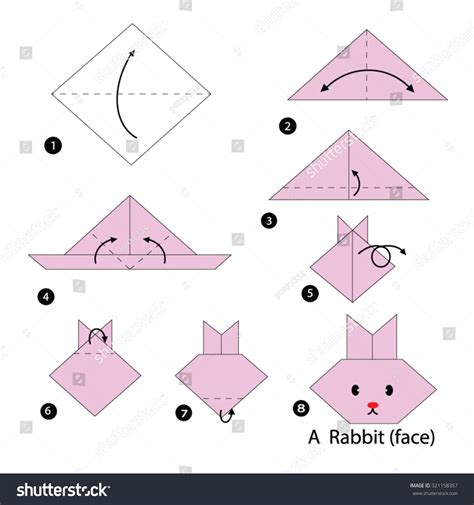 how to make a origami bunny step by step how make stock vector 321158357
