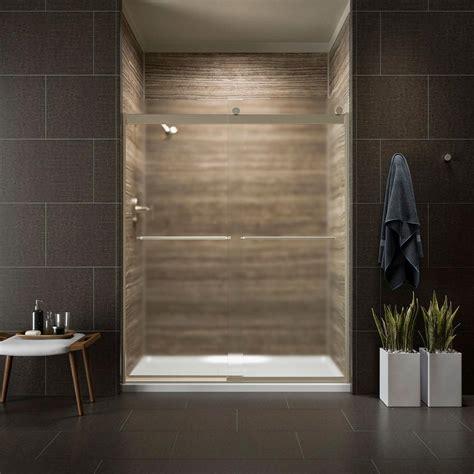 kohler sliding shower doors kohler levity 59 in x 74 in frameless sliding shower