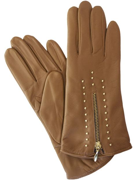 leather with zips dents womens leather gloves gold zip studs tout ensemble