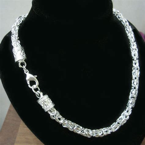 sterling silver chain for jewelry free shipping 8mm spigot silver chain necklace for