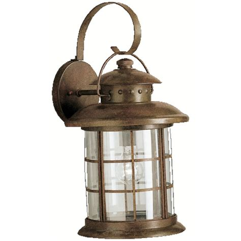 rustic outdoor lighting fixtures kichler outdoor wall light with clear glass in rustic