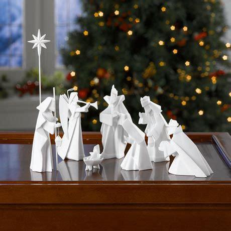 origami nativity set modern 8 origami nativity manger in white porcelain