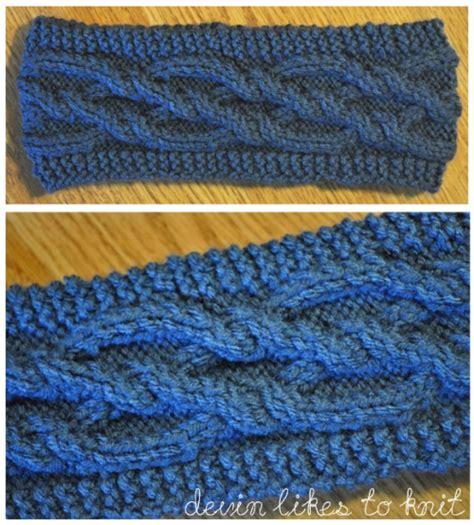 knitted ear warmer pattern demi knits intertwining diamonds cabled headband ear