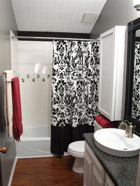 bathroom ideas with shower curtains unique shower curtains designs with black and white color schemes for narrow bathroom ideas