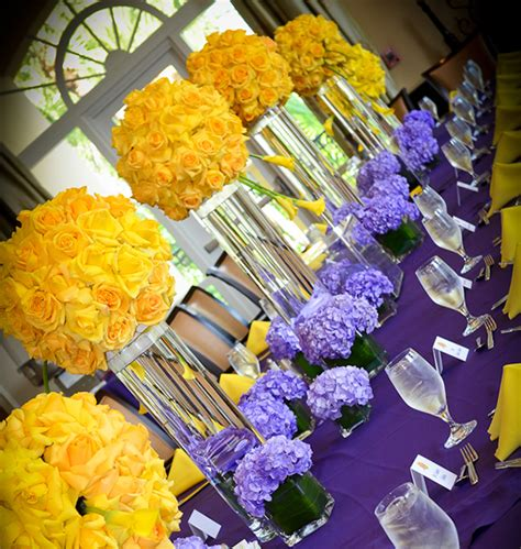 purple and yellow wedding centerpieces basketball bar mitzvah basketball theme ideas