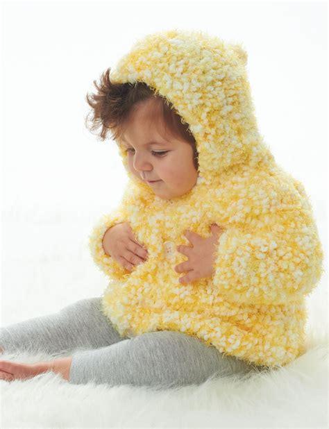 bernat baby knitting patterns bernat happy days hoodie knit pattern yarnspirations