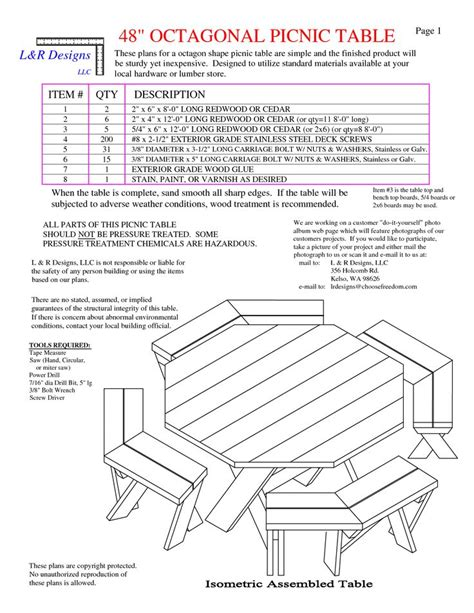 free picnic table plans free octagon picnic table plans and drawings image mag