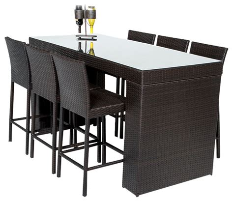 bar set patio furniture bar table set with barstools 7 outdoor wicker patio