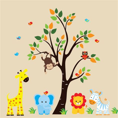 jungle tree wall stickers blue jungle animals and tree wall decals