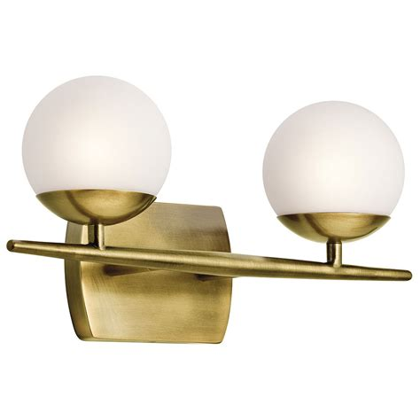 2 light bathroom vanity light kichler 45581nbr jasper modern brass halogen 2