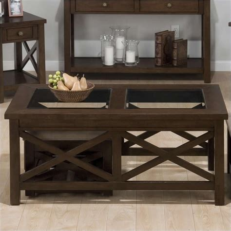 coffee table with nesting ottomans coffee table with 2 nesting ottomans in xavier birch 482c 1