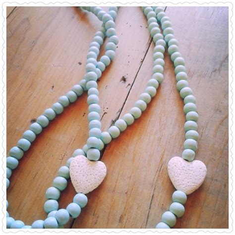 wooden bead necklace teal wooden bead necklace by blooms sparkles pty ltd