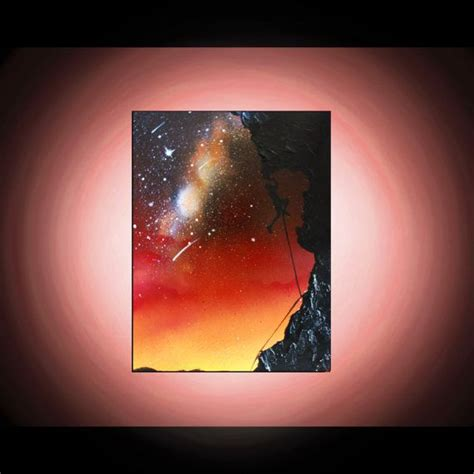 spray painting sky rock climber silhouette original painting spray