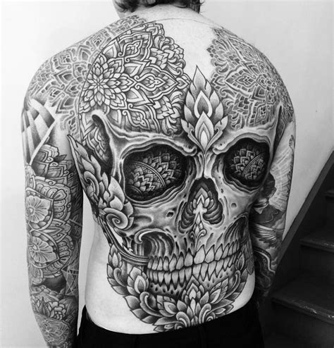 skull mandala back tattoo best tattoo design ideas