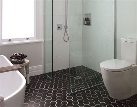 small bathroom ideas nz porcelain ceramic large hexagon black teranova tiles