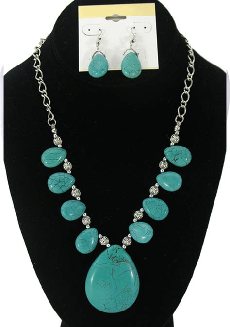 large for jewelry turquoise genuine stones large pendant set of necklace