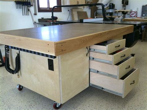 mobile woodworking shop outfeed table workshop utility workbenches