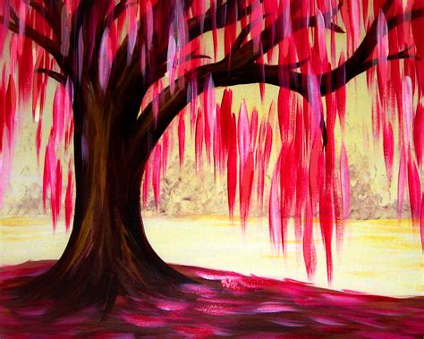 paint nite tree pink willow tree at mias paint nite events
