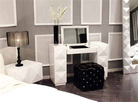 modern bedroom vanity white lacquer contemporary vanity with folding mirror and
