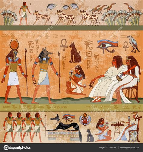 ancient egypt scene murals ancient egypt hieroglyphic