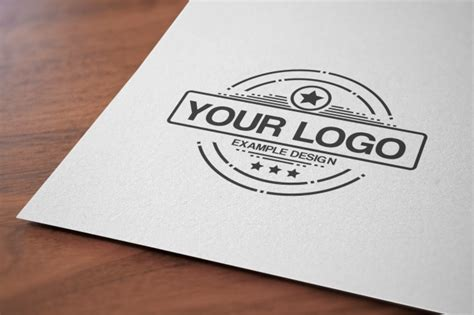 rubber st psd up logo on paper mockup mediamodifier