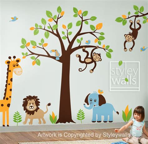 jungle stickers for walls children wall decal safari tree decal jungle by styleywalls