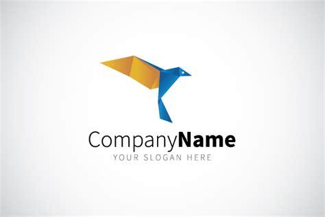 origami bird logo blue origami bird logo