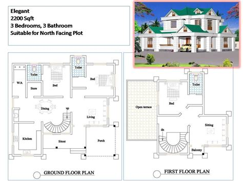 3 bedroom house plans in kerala kerala style house plans 2200 sqft 3 bedroom 2 story house