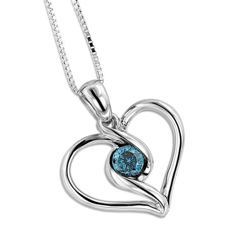 pendants jewelry 14k white gold single blue necklace for