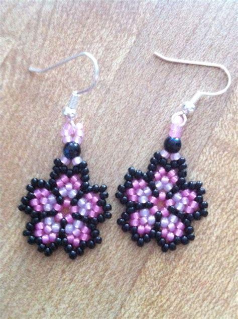 beaded flower earring patterns beaded cherry blossom earrings by ladyavii on deviantart