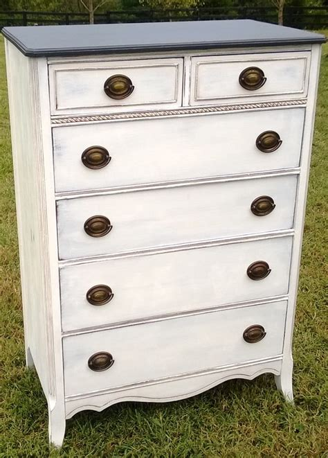 chalk paint in white antique chest of drawers refinished in graphite and