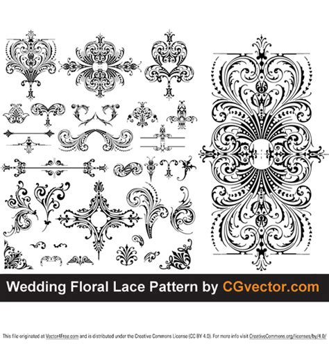 wedding floral lace pattern free vector art