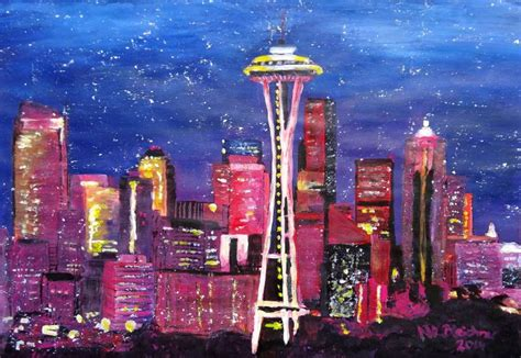 paint nite seattle saatchi seattle skyline with space needle at
