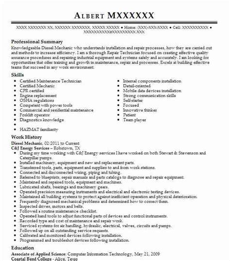 best diesel mechanic resume example livecareer