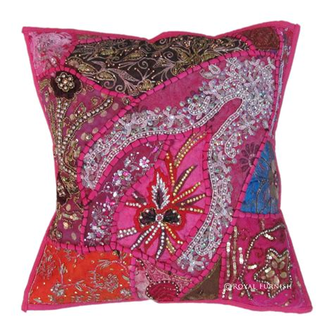 beaded decorative pillows pink antique beaded patchwork indian embroidered throw
