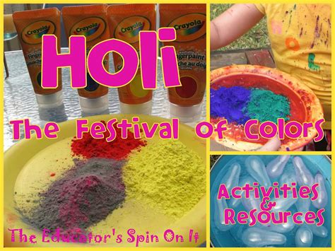 holi craft for holi to welcome the educators spin on it