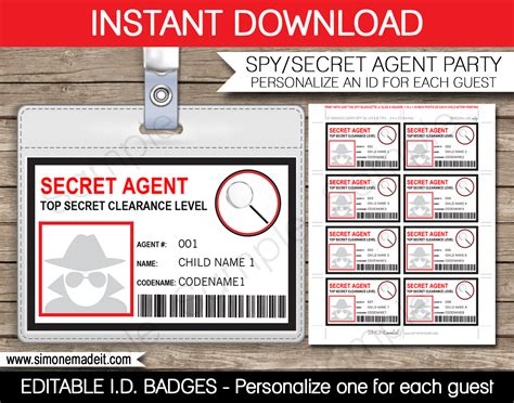 make your own id card for free or secret badge template card birthday