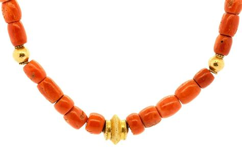 gold bead necklace tibetan coral gold bead necklace for sale at 1stdibs
