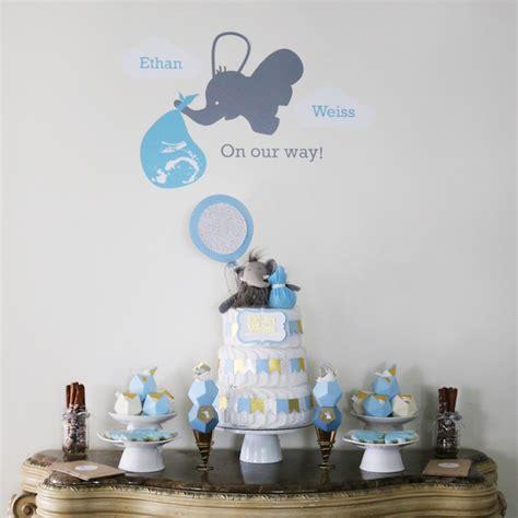 elephant themed baby shower centerpieces kara s ideas geometric blue gold elephant baby shower