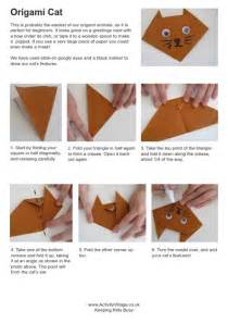 origami activity for simple origami cat for to fold