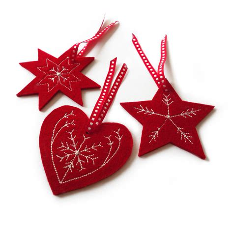 embroidered decorations embroidered tree decorations by goldborough
