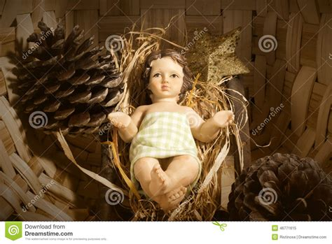 baby jesus in the crib baby jesus in the crib card stock image image