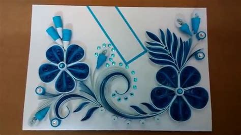 how to make paper quilling greeting cards paper quilling greeting card blue my crafts and diy projects