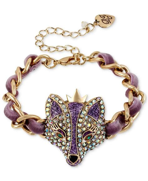 fashion jewelry betsey johnson bracelet gold tone purple fox bracelet