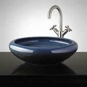 Pottery Vessel Sinks by Millbrook Hand Glazed Pottery Vessel Sink Ocean Blue
