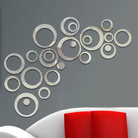removable stickers for walls 2017 sales 24pcs circles wall stickers mirror style