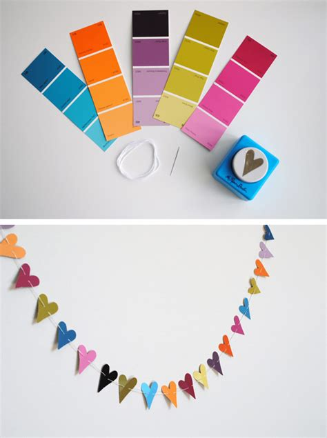 paper punch craft paint chip crafts paper punch garland crafts