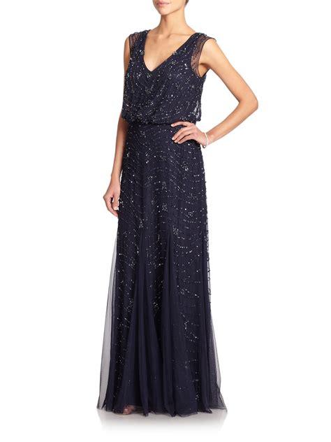 blue beaded gown aidan mattox sleeveless beaded godet gown in blue lyst
