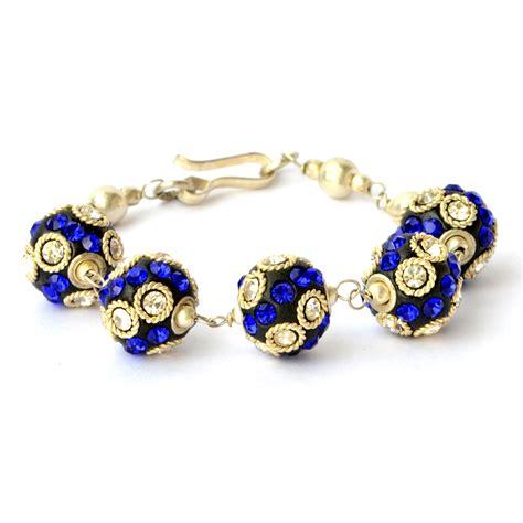 handmade bead bracelets handmade bracelet black with white blue